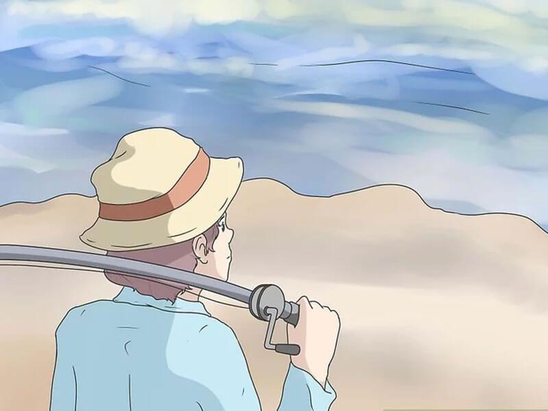 مرحله اول  پرتاب چوب ماهیگیری اسپین کستینگ
