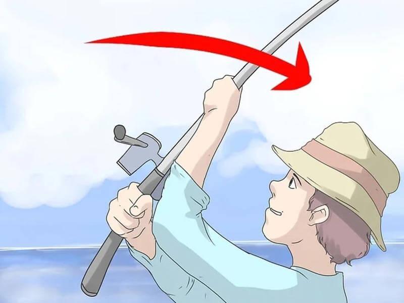 مرحله ششم پرتاب چوب ماهیگیری اسپینینگ