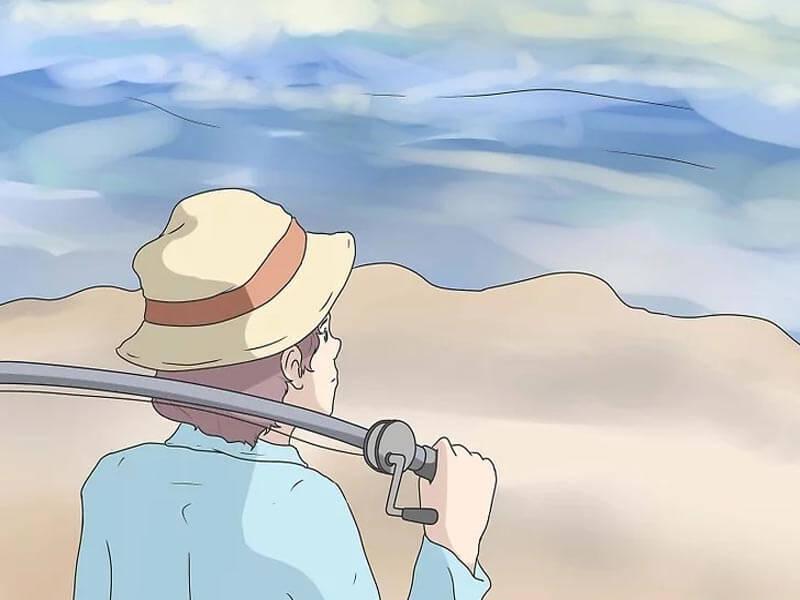 مرحله اول پرتاب چوب ماهیگیری بیت کستینگ