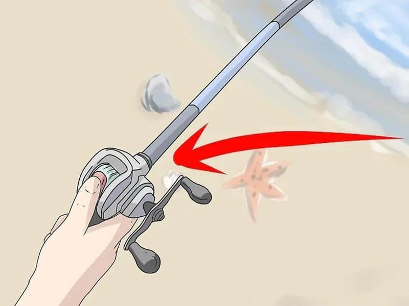مرحله ششم پرتاب چوب ماهیگیری بیت کستینگ