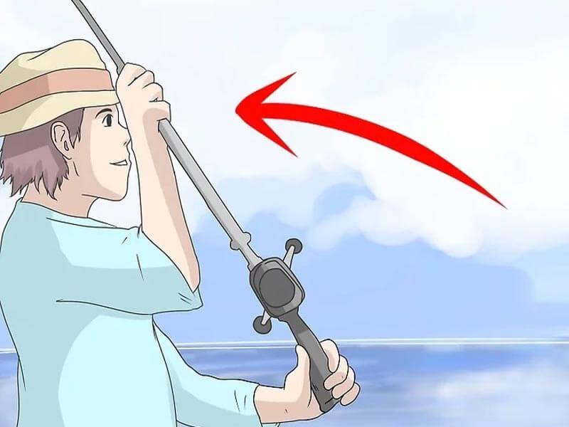 مرحله هفتم پرتاب چوب ماهیگیری بیت کستینگ
