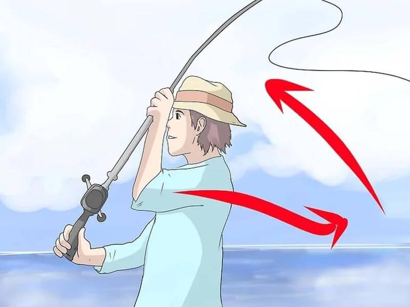 مرحله سوم پرتاب چوب ماهیگیری پشه