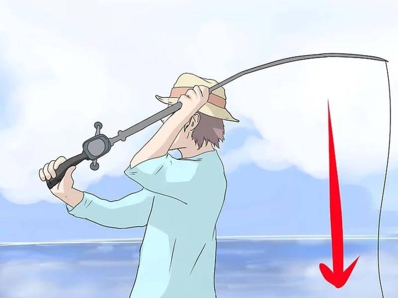 مرحله چهارم پرتاب چوب ماهیگیری پشه