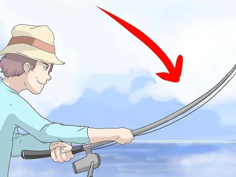 مرحله پنجم پرتاب چوب ماهیگیری پشه