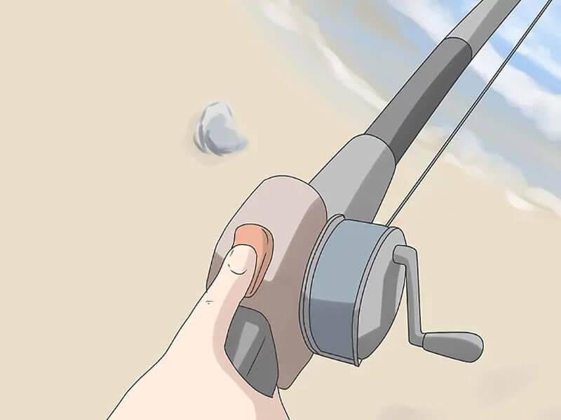 مرحله چهارم  پرتاب چوب ماهیگیری اسپین کستینگ