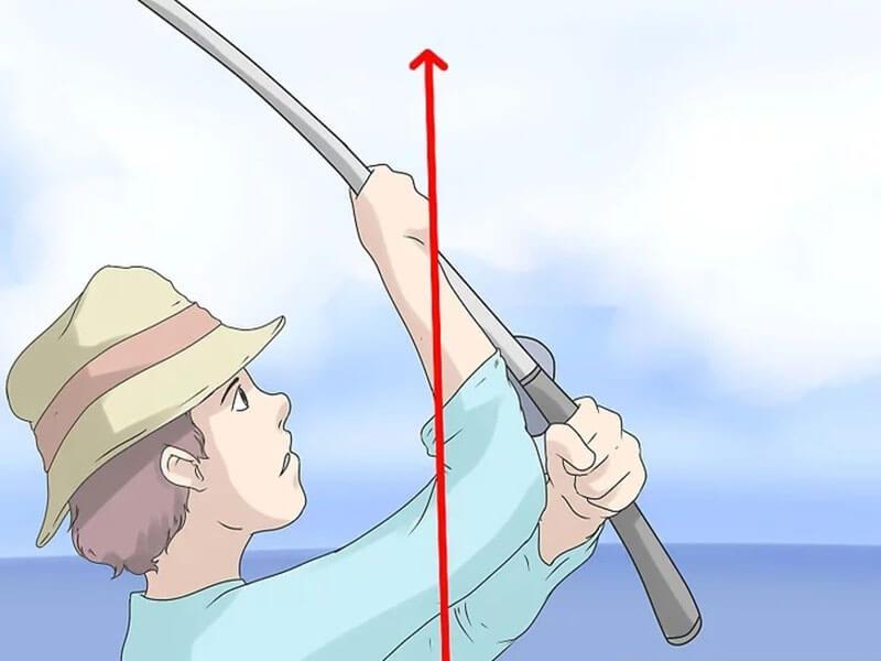 مرحله پنجم پرتاب چوب ماهیگیری اسپین کستینگ